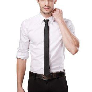 Landisun Skinny Tie Silk Tie Satin Slim Necktie Ex
